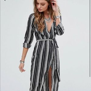 Influence Striped Wrap Dress Midi Dress